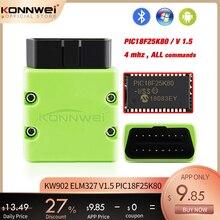 KONNWEI ELM327 V1.5 OBD2 Máy Quét KW902 Bluetooth Autoscanner PIC18f25k80 MINI ELM 327 OBDII KW902 Mã cho Điện Thoại Android