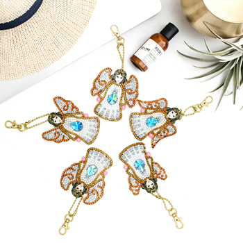 5pcs The Angel DIY Keychain Diamond Painting Special shaped Full Drill Embroidery Cross Stitch Jewelry