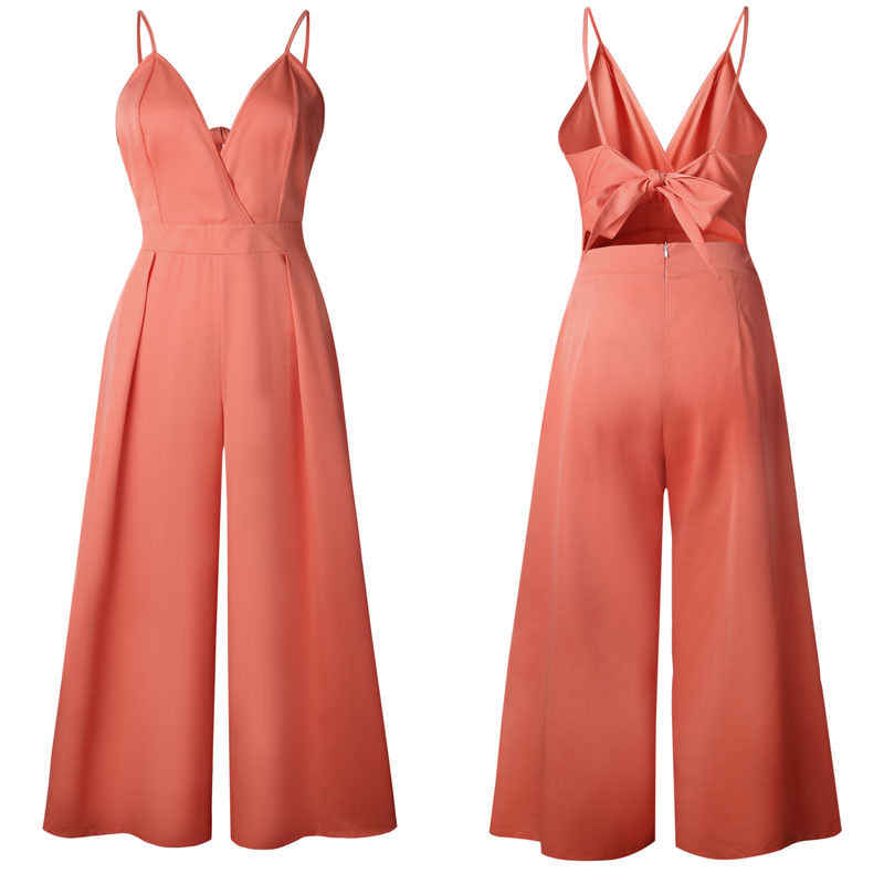 2018 New arrival Hot Sexy Women Clubwear Summer Playsuit Bodycon Party Jumpsuit Romper Trousers Sleeveless Bow V Neck Long Pants