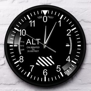 Image 3 - Hava uçak irtifa ölçüm Rrint Duvar Saati siyah Metal çerçeve altimetre yuvarlak Duvar sanat dekoru Timepiece saat Duvar Saati