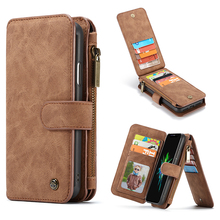 14 Card Wallet Leather Case For iPhone 12 11 Pro Max Xs X Xr Zipper Magnetic Case For iPhone 8 7 6 Plus SE 2020 Flip Phone Case