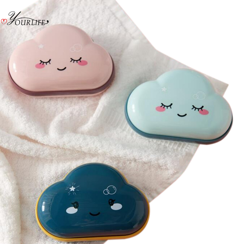 OYOURLIFE Bathroom Cute Cartoon Soap Box Shower Drainage Soap Holder Outdoor Travel Soap Protect Case Bathroom Accessories