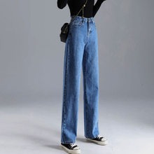 Женские джинсы, свободные, с высокой талией, прямые, с высокой талией, однотонные, широкие, Ретро стиль, свободные, женские джинсовые брюки, т...