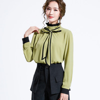 Han edition of new fund of 2019 autumn dress sweet temperament lace collar bump color stitching bow joker woman shirts