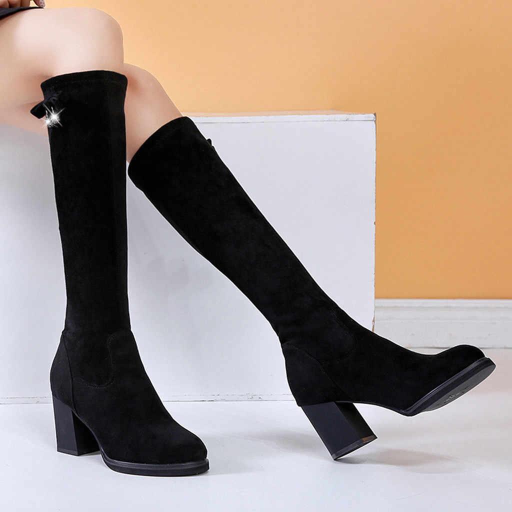 Винтажные зимние сапоги; женские модные однотонные высокие сапоги с круглым носком без застежки; повседневная женская обувь на массивном каблуке; chaussures femme