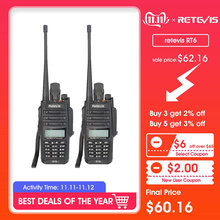 2pcs IP67 Waterproof ANTI-DUST Walkie Talkie Retevis RT6 Dual Band 5/3/1W VHF/UHF Two Way FM Radio Black RU Ship