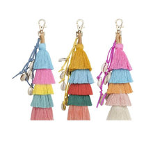 Olsen Twins New Fashion Handmade Multi Layer Colorful Fringe Tassel Shell Keychains for Women Handbag Accessories(China)