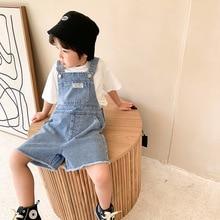 Boys summer denim overalls shorts Korean style fashion kids loose all-match thin bib pants baby boys overalls