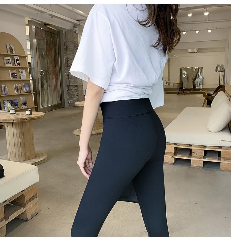H7adb42ae87f24d41888fe26917e6c634t BIVIGAOS New Women Sharkskin Black Leggings Thin Workout Stretch Sexy Fitness Leggings Skinny Legs Slimming Sport Leggings