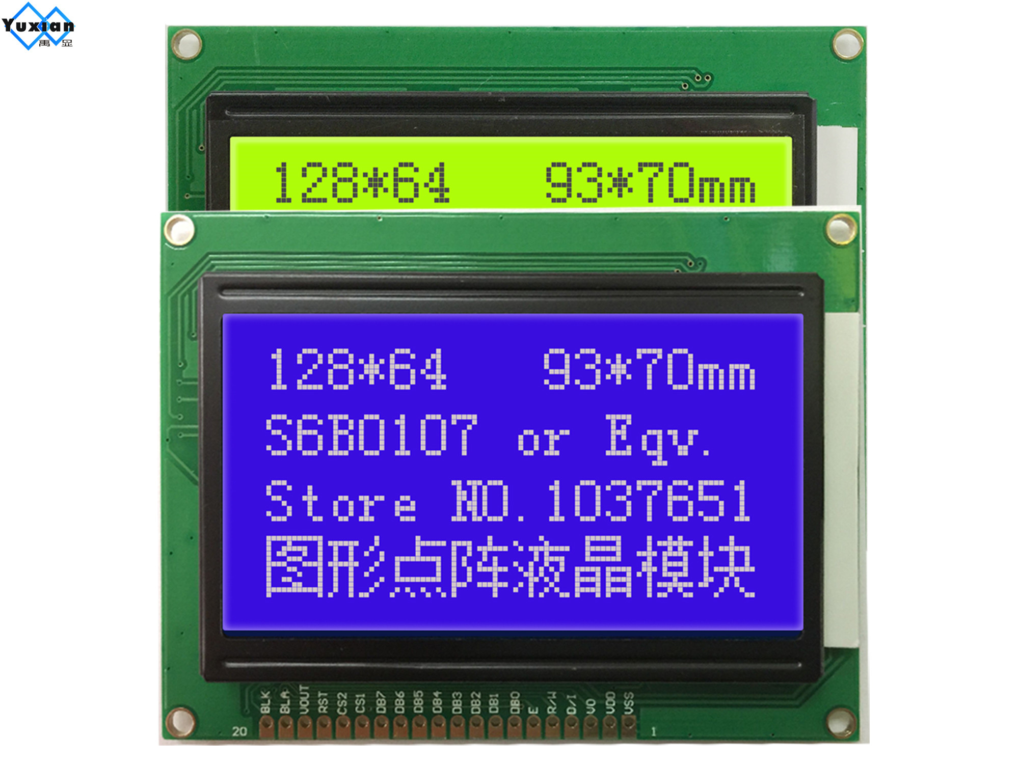 12864  Lcd Display Module 5v Green Blue  NT7108  12864A  20pin Hot Selling