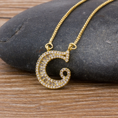 Luxury Gold Color A-Z 26 Letters Necklace CZ Pendant for Women Cute  Initials Name Necklace Fashion Party Wedding Jewelry Gift 23