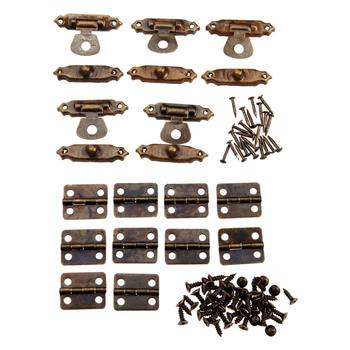 5 sztuk Box zatrzask Hasps + 10 sztuk drzwi do szafki zawias meblowy biżuteria drewniane pudełka dekoracyjne zawias okucia meblowe + śruby tanie i dobre opinie Maszyny do obróbki drewna Nice decorative hinges iron approx 16*13mm 0 63*0 51inch other approx 6 9*5 1*2 5cm 2 72*2 01*0 98inch