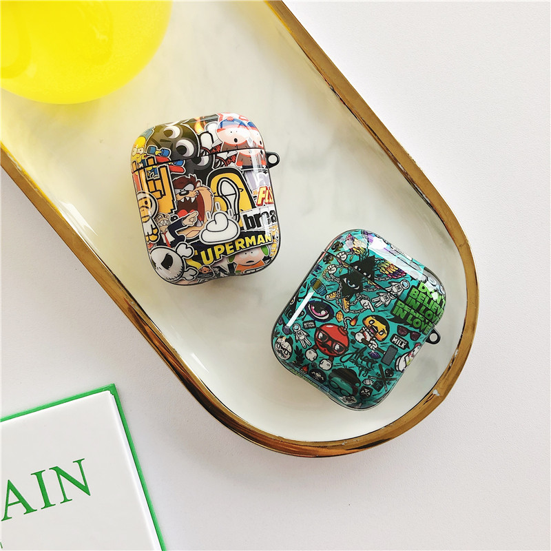 Funny Graffiti Pattern <font><b>Case</b></font> For <font><b>Apple</b></font> Airpods 2 1 Cover Cute <font><b>Silicone</b></font> Bluetooth Earphone <font><b>Case</b></font> For <font><b>airpod</b></font> Capa Headphone <font><b>Case</b></font> Box image