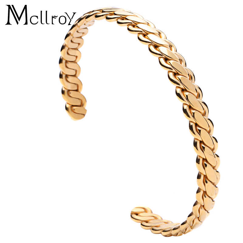 Mcllroy Cuff Bracelet Bangle for Man Brand Designer Titanium Stainless Steel Bracelets Bangles Retro Jewelry Engraved valentine