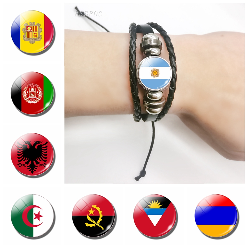 Flag Glass Cabochon Black Multi-layered Braided Bracelets <font><b>Afghanistan</b></font> Albania Algeria Andorra Flag Leather Bracelet Travel Gifts image