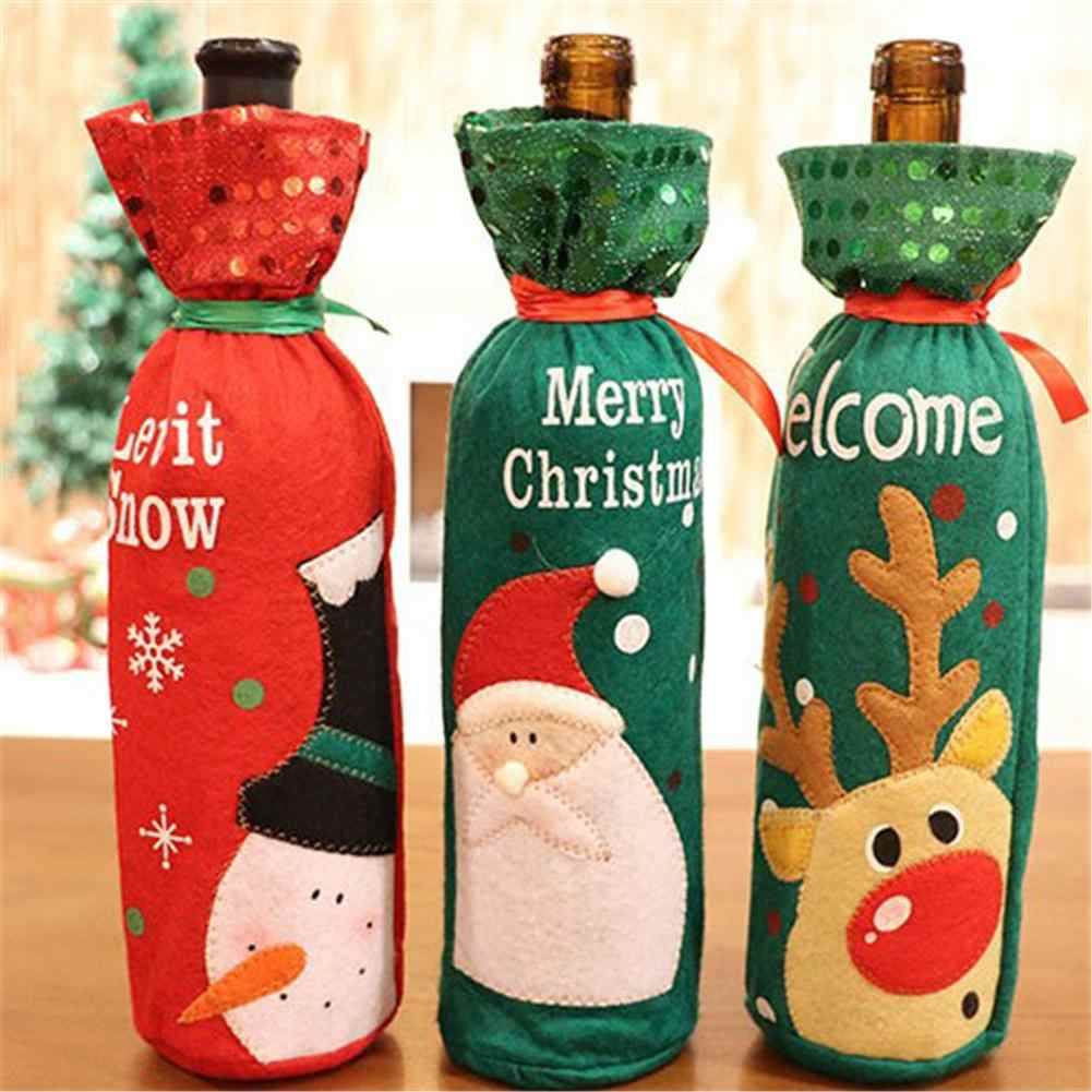Sequin Christmas Decoration Wine Bottle Set Christmas Decoration Wine Set Gift Gift Bag Inventory Clearance