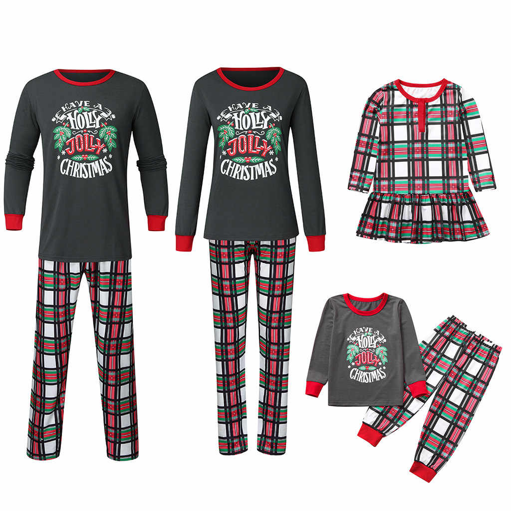 Toddler Baby Kids Girls christmas pajamas Father Mother Kids Baby Plaid Dress Family Outfits Pajamas Sleepwear Christmas Clothes