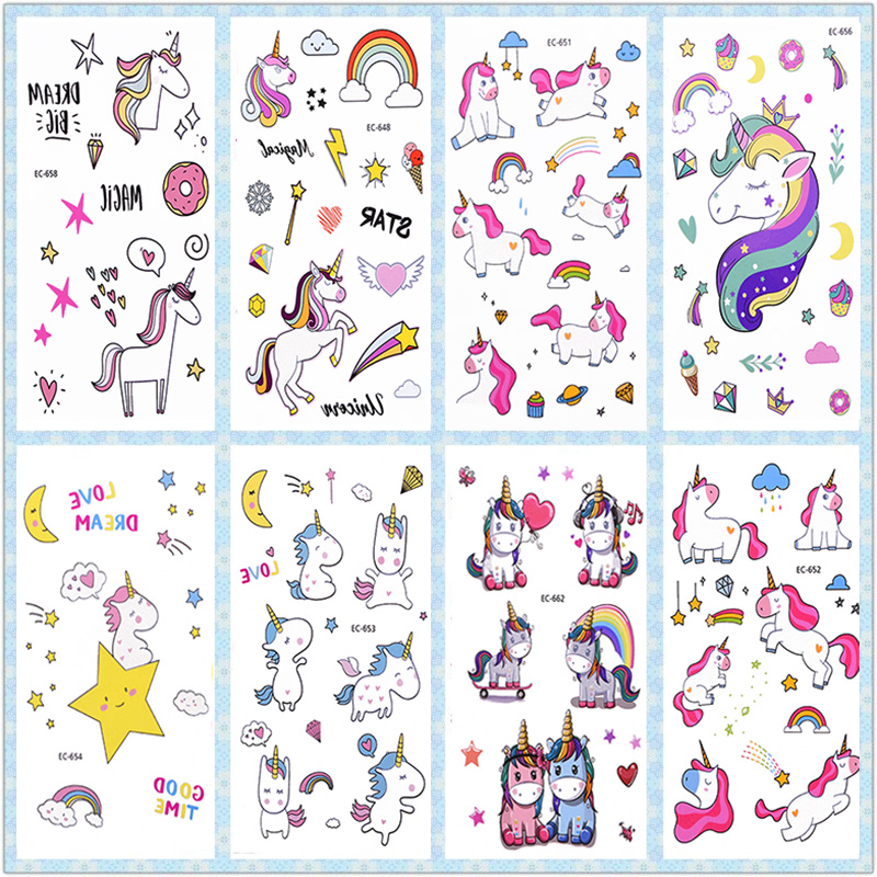 3Pcs Rainbow Unicorn Tattoo Sticker Kids Birthday Party Decorations Unicorn Stickers Temporary Tattoos Unicorn Party Supplies