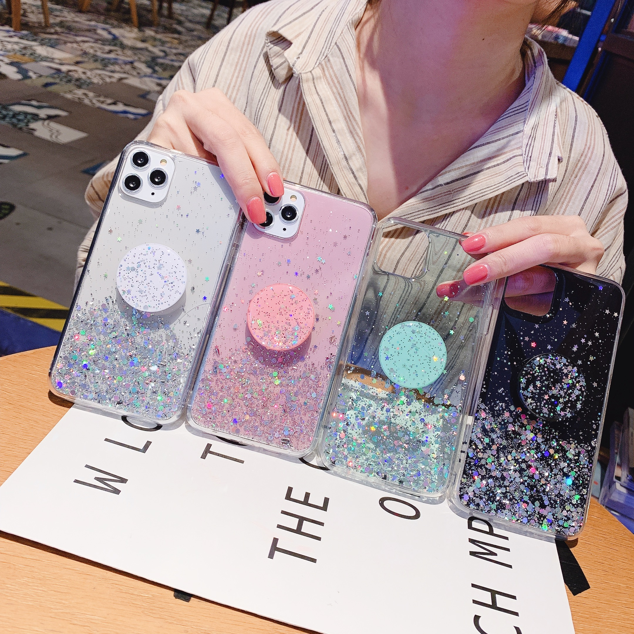 For <font><b>Samsung</b></font> Note10 pro note8 note9 Blingbling Glitter Stand Holder <font><b>Phone</b></font> <font><b>case</b></font> TPU Clear DIY <font><b>Cute</b></font> Bling Sequins S8 S9 Coque Funds image