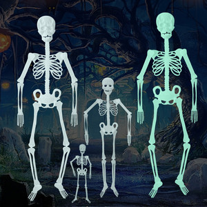 Image 5 - Scary Halloween Decoration Halloween Props Luminous Hanging Decoration Outdoor Party Horror Luminous Movable Skull Skeleton