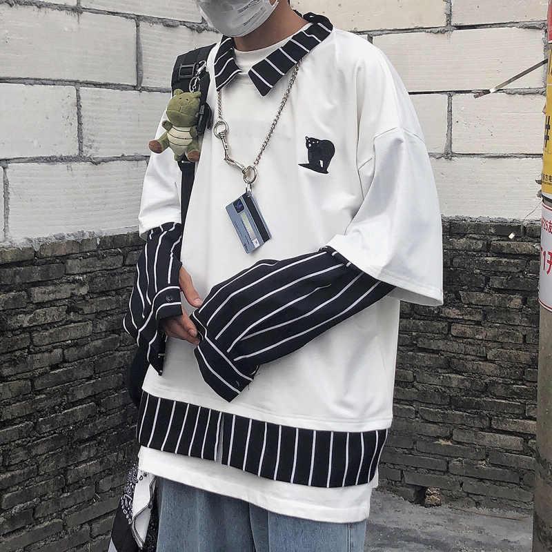NYOOLO Harajuku Thêu Giả 2 Mảnh Sọc Miếng Dán Cường Lực Áo Thu Dạo Phố Dài Tay Áo Sơ Mi Nam Nữ Hàng Đầu