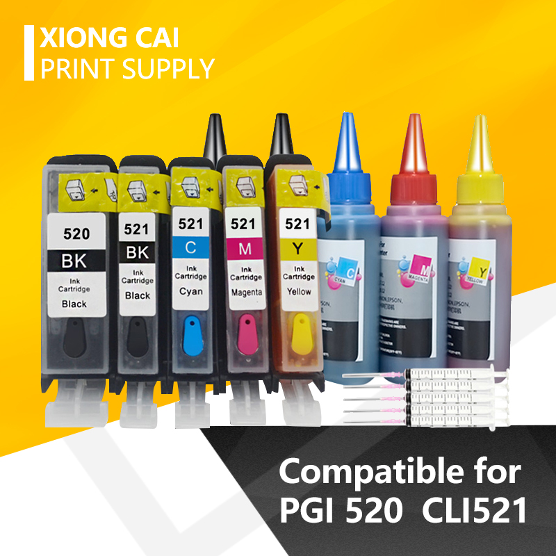 PGI-520 CLI-521 Refillable <font><b>Ink</b></font> <font><b>Cartridge</b></font> For <font><b>Canon</b></font> PGI520 PIXMA IP3600 IP4600 IP4700 MX870 MP540 MP550 MP560 MP620 <font><b>MP630</b></font> image