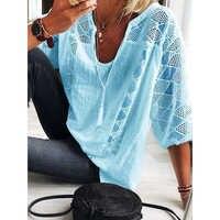 Casual con cuello en V de algodón Lino blusas de las mujeres de la primavera de 2020 de tres cuartos de la manga de la camisa de encaje de verano Chic suelto de talla grande ropa