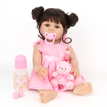 18 Inch Full Vinyl Silicone Reborn Baby Dolls 47cm Real Girl Bath Toy Alive Toddler Cute Bebe Boneca Menina Lol Birthday Gifts