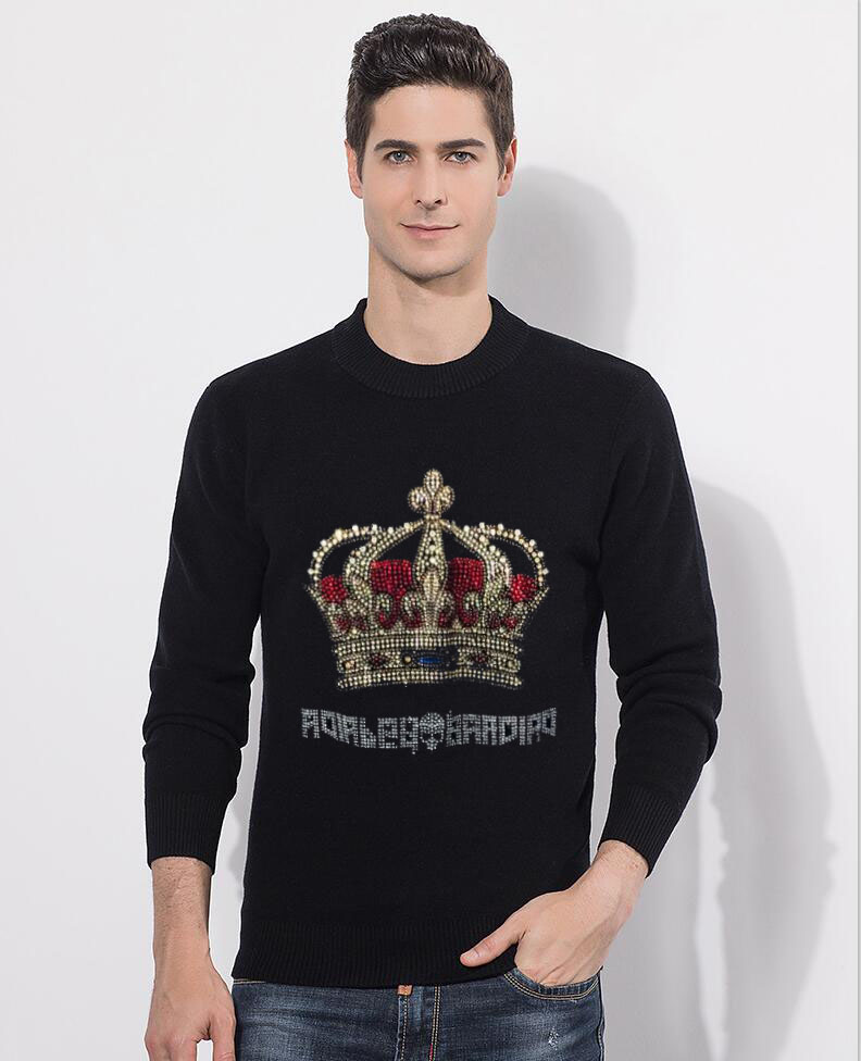 Sweater Men 2020 Cotton Sweater Pullover Casual Jumper For Male Knitted Korean Style Clothes  Diamond Stone Sweaters