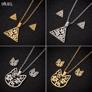SMJEL Bohemian Flower Triangle Earrings for Women Girl Gold Color Cat Ear Necklace Art Deco Pendant Collier Femme Christmas Gift(China)