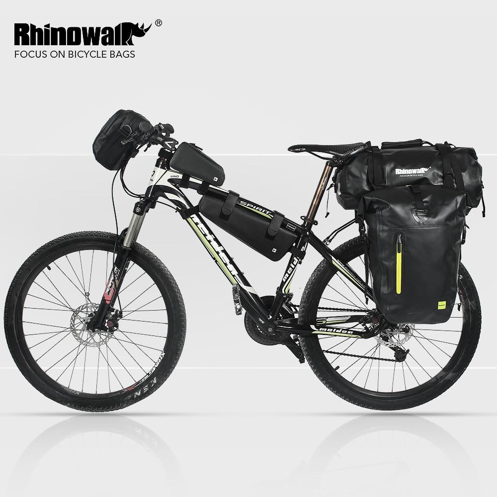 Купить с кэшбэком Rhinowalk 25L Cycling Bike Bags MTB Bike Rear Rack Bag Full Waterproof Multifunction Road Bicycle Pannier Rear Seat Trunk Bag