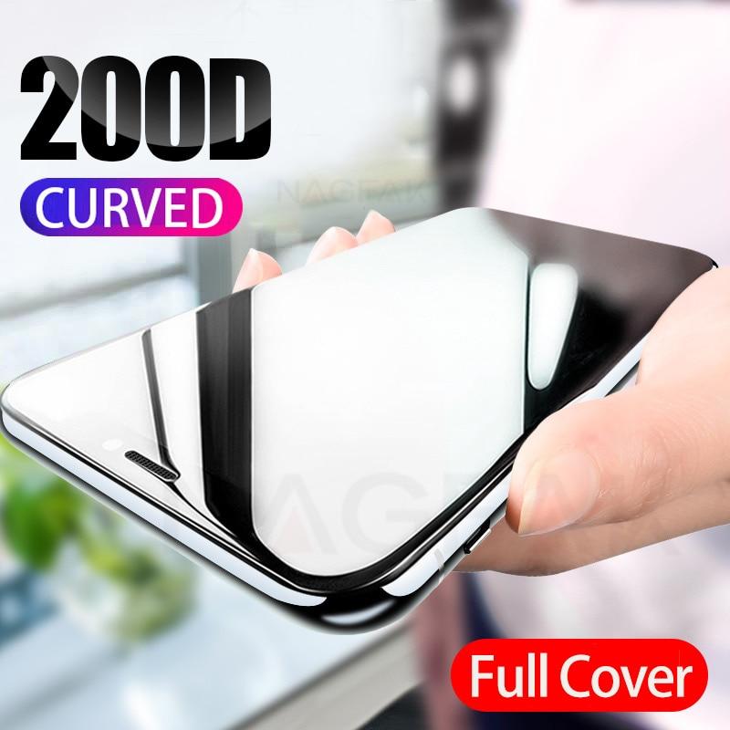 200D изогнутое полное покрытие защитное стекло на iPhone 7 8 6S Plus закаленное защитное стекло для экрана iPhone 11 Pro X XR XS Max