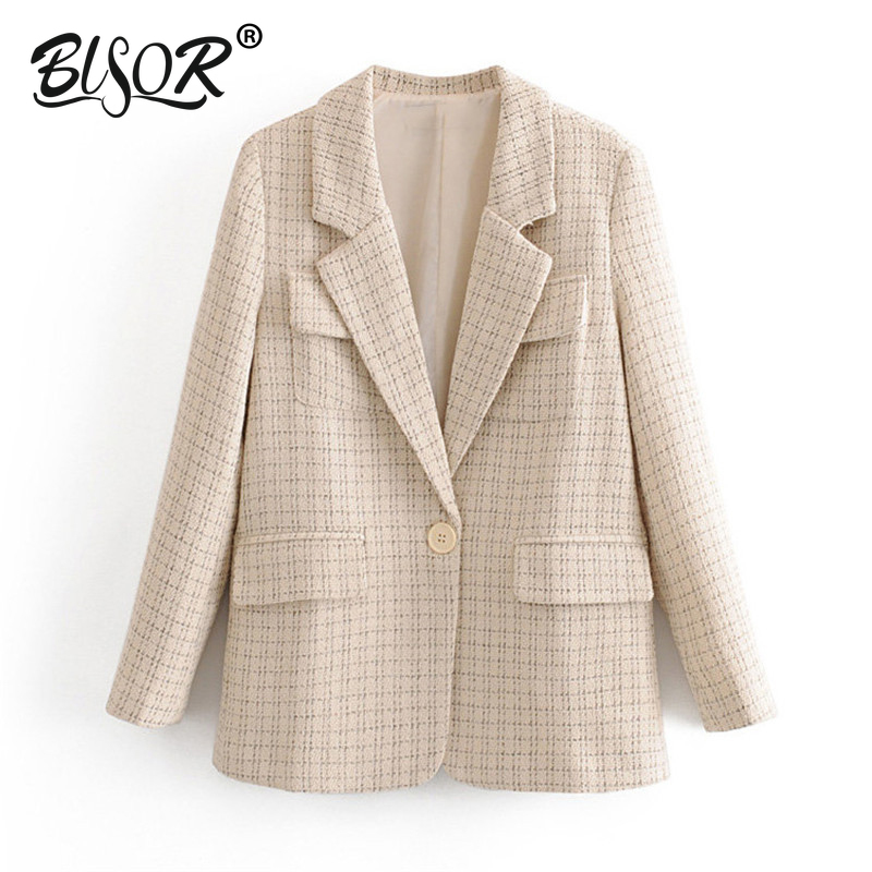 Vintage Fashion Tweed Plaid Basic Blazers Coat Women Notched Collar Long Sleeve Blazer Outerwear 2019 Casual Casaco Femme