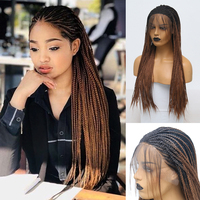 Charisma Ombre Wig High Temperature Fiber Hair Synthetic Lace Front Wig with Baby Hair Box Braided Wigs for Women Synthetic Wigs