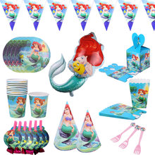 Ariel sereias eles festa tablewares copos de papel placa palha copo feliz aniversário festa favores dos desenhos animados figura decorações suprimentos