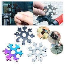 19-em-1 ferramentas de chaveiro de neve multi-ferramenta chaves combinação de aço inoxidável forma de neve ao ar livre portátil floco de neve