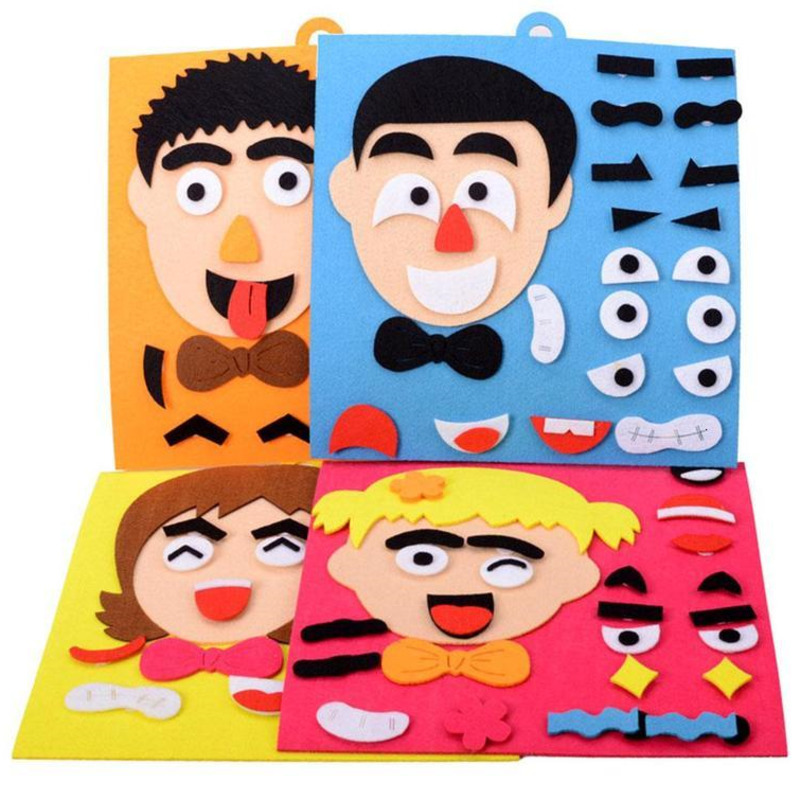 Kids DIY 3D Emotion Puzzle Toys Cartoon Facial Expression Stickers Learning Educational Toys For Children Art Drawing Craft Kits