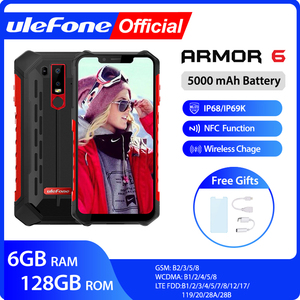 Image 1 - Ulefone Armor 6 IP68 Waterproof Mobile Phone Android 8.1 Helio P60 Octa Core 6GB 128GB Face ID NFC IP69K Rugged Smartphone