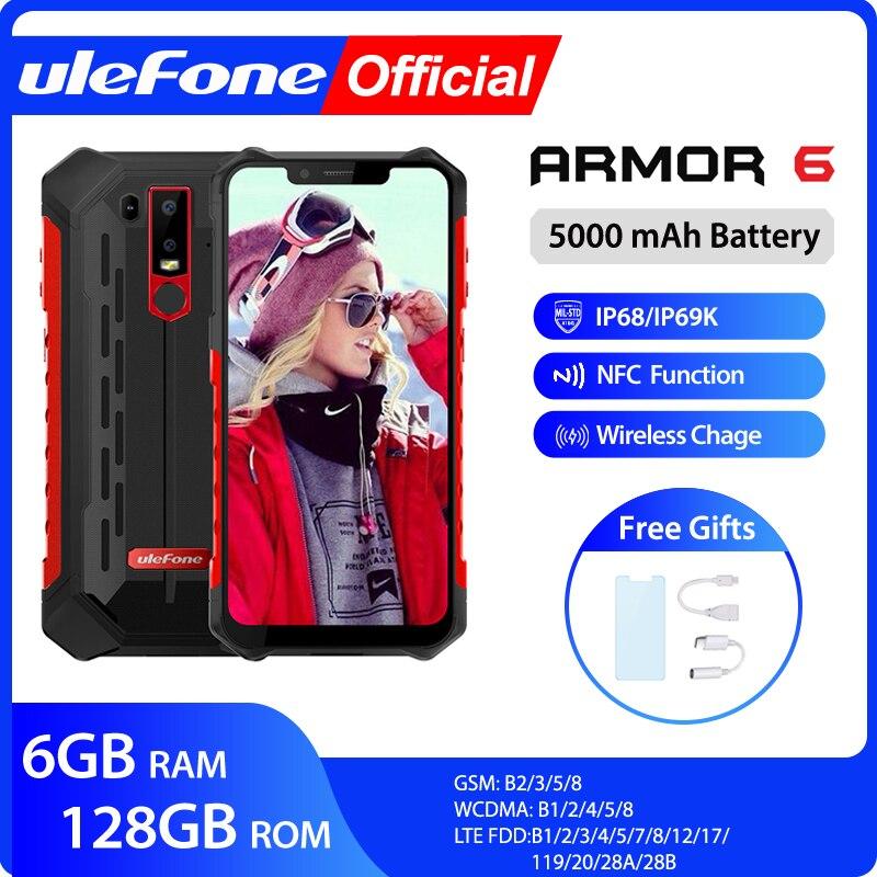 Ulefone armadura 6 ip68 impermeável telefone móvel android 8.1 helio p60 octa núcleo 6 gb 128 gb face id nfc ip69k smartphone áspero