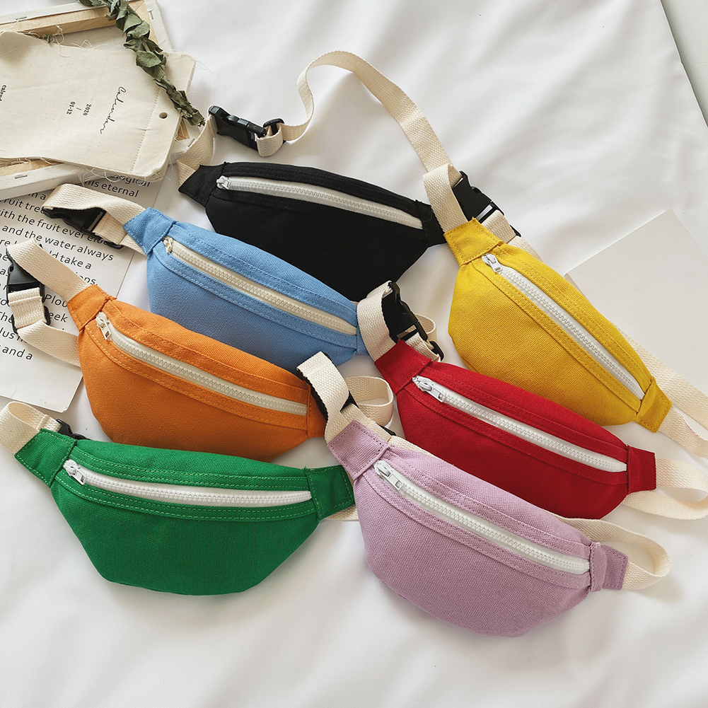 Casual Women Fanny Waist Bag Simple Solid Color Canvas Chest Bum Belt Pack Zipper Shoulder Crossbody Bags For Kids Girls