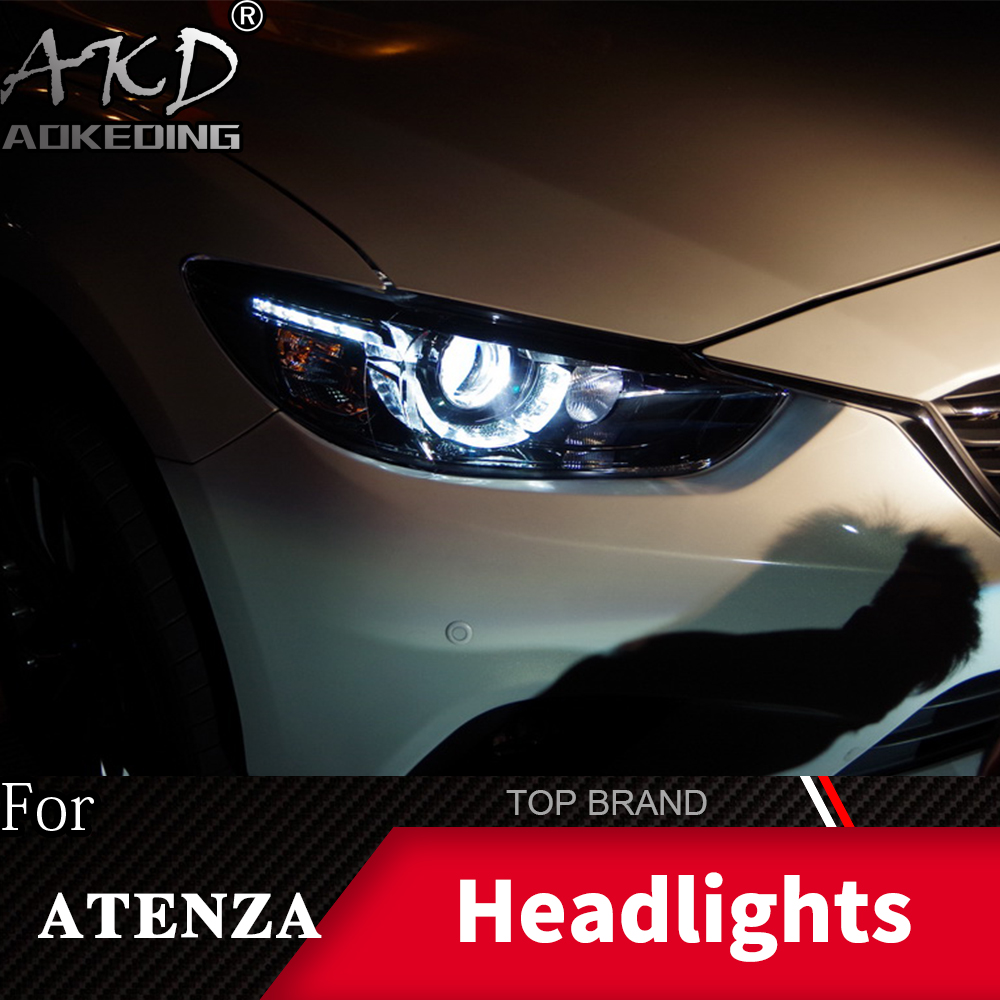 Head Lamp For Car <font><b>Mazda</b></font> <font><b>6</b></font> Atenza 2013-2017 Headlights Fog <font><b>Lights</b></font> Daytime Running <font><b>Lights</b></font> DRL H7 <font><b>LED</b></font> Bi Xenon Bulb Car Accessories image