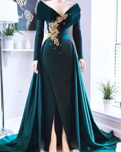 цена на Vintage Dark Green Long Sleeves Evening Dresses Off The Shoulder Appliques Beaded Formal Prom Party Gowns With Front Side Split