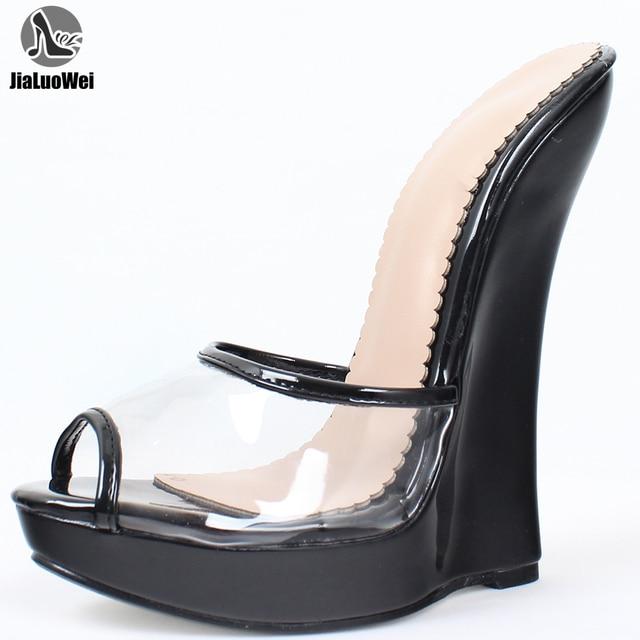 Jialuowei marka kadın sandalet 2018 moda seksi şeffaf sandalet 18cm yüksek topuklu takozlar pompaları Peep Toe Slip On ayakkabılar