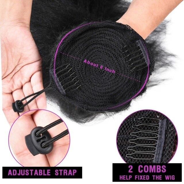 Extensión de cabello sintético con cola de caballo, cabello liso rizado de 16 pulgadas con dos peines de plástico con cordón, color negro Natural 6