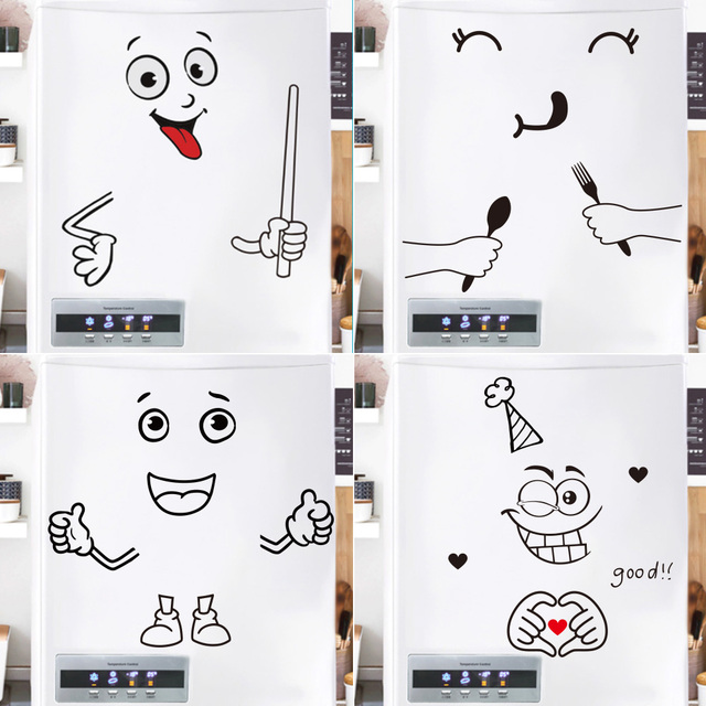 Cute Cartoon Expression Stickers Home Refrigerator Decoration Stickers Refrigerator Door Landscaping Stickers Home Decoration 1