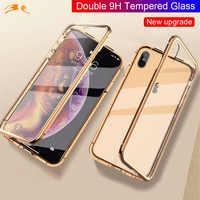360 couverture complète 9H verre trempé boîtier étui pour iphone d'adsorption magnétique XS MAX XR XS X 8PLUS 8 7 7plus