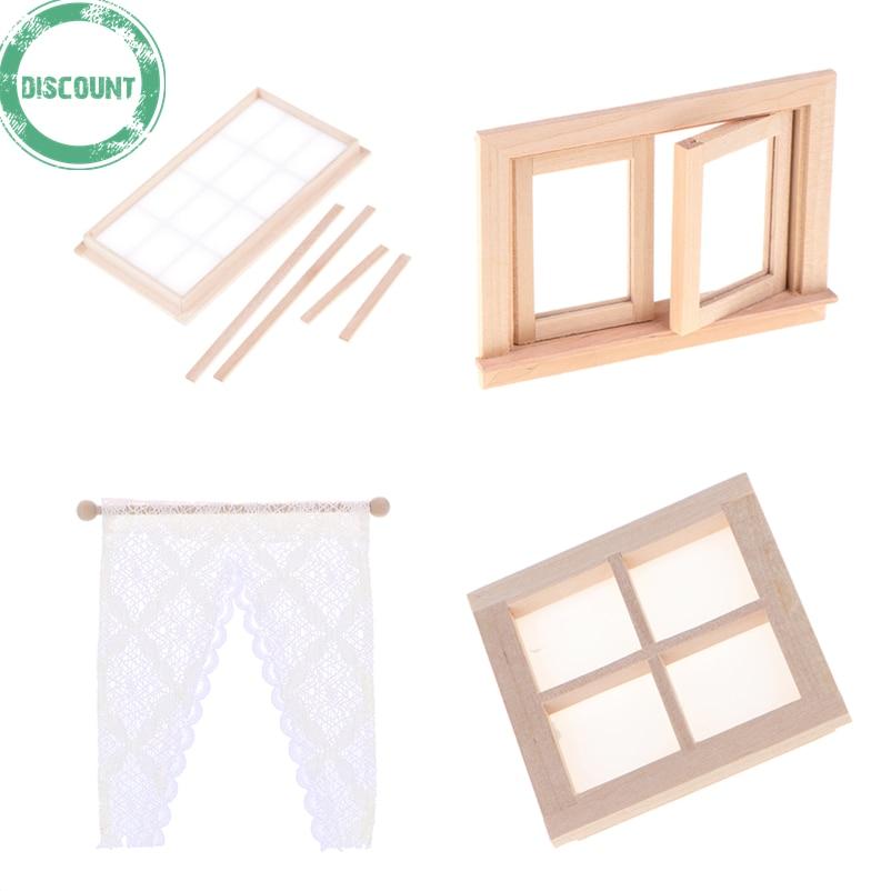 1:12 Dollhouse Miniature Wooden 4 Pane Window DIY Access RAS
