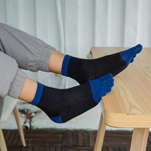 Winter Five-finger Men Socks Patchwork Cotton Warm Toe Sock  Casual Breathable Sweat Thicken Mens Soft 1Pair
