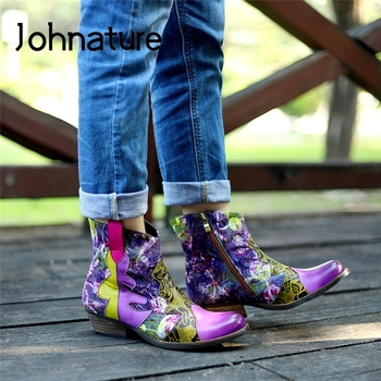 Johnature Retro Women Shoes Hand-painted Platform Boots Genuine Leather Round Toe 2020 New Winter Zip Square Heel Ankle Boots