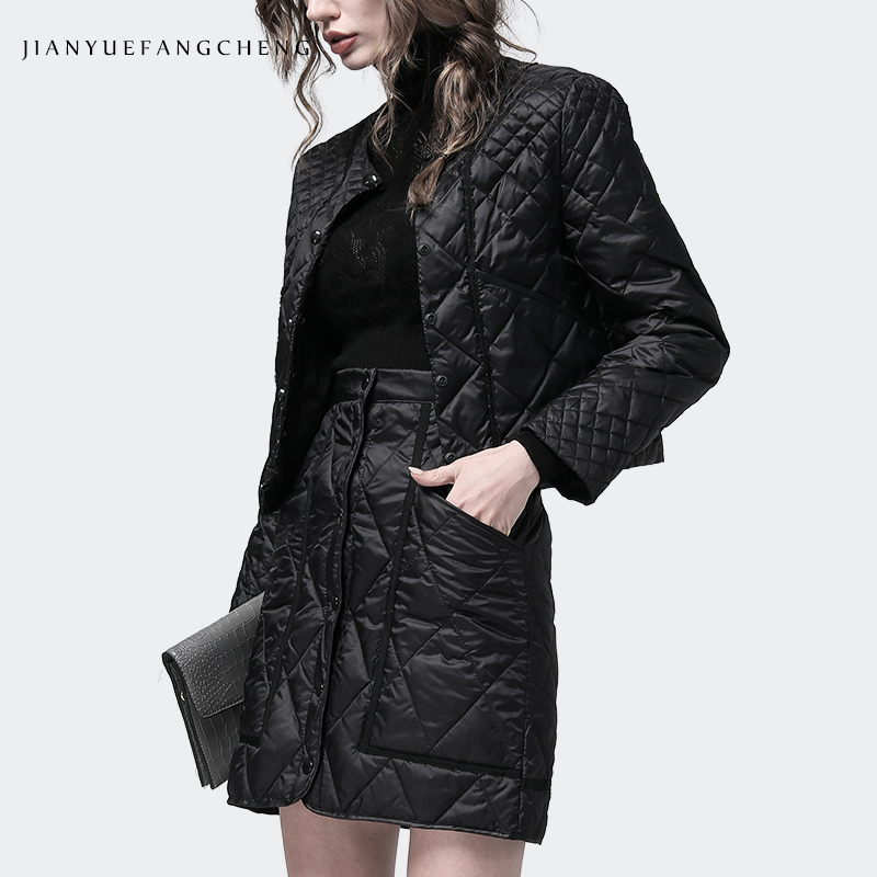 Women Winter 2 Pieces Set Down Jacket And Skirt Black Slim Short Lightly Warm Duck Down 2 Pieces Set Free Shipping Size S-4XL